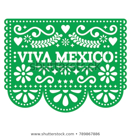 Viva Mexico papel picado vector design - Mexican paper decoration with pattern and text Stock photo © RedKoala