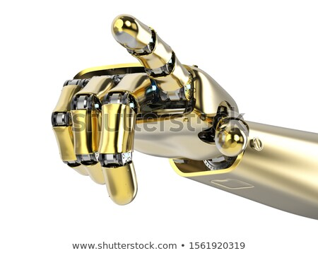 Pointing 3d gold robotic hand. Stock photo © sommersby