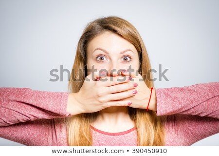 Stok fotoğraf: Portrait Of An Astonished Pretty Girl Covering Mouth