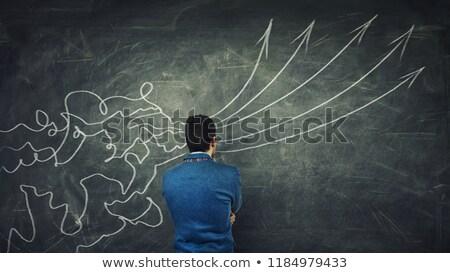 érzelem logika nyilak iskolatábla kéz fehér Stock fotó © ivelin