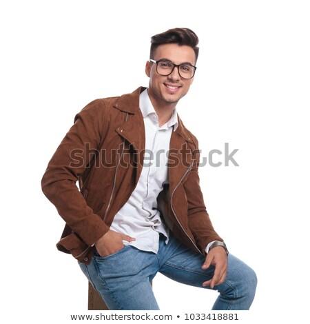 Homem óculos jaqueta de couro caixa feliz Foto stock © feedough