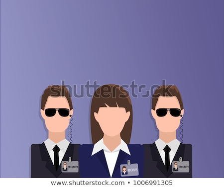 Businessman with wooman bodyguards. VIP protection. Black suit a Stock photo © popaukropa