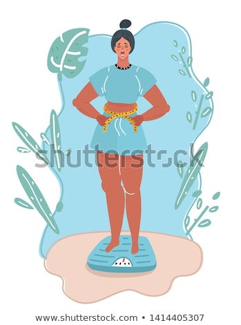 woman measuring waist vector illustration stock photo © rastudio