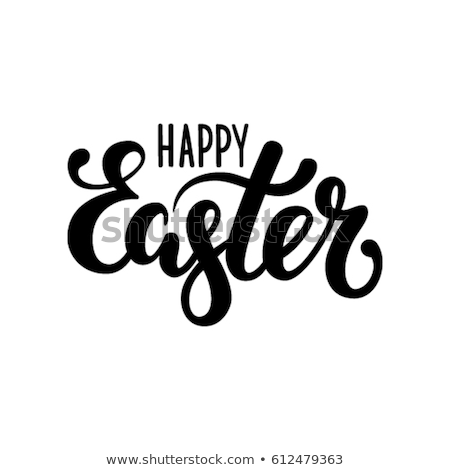 happy easter   vector hand drawn brush pen lettering illustration stock photo © decorwithme
