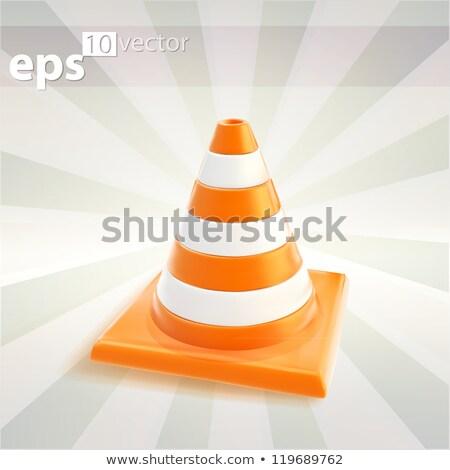 Verkeer kegel 3D glanzend vector icon Stockfoto © rizwanali3d