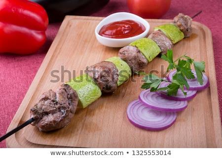 Alla griglia carne zucchine sfondo estate Foto d'archivio © M-studio
