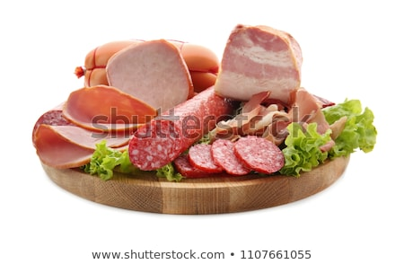 Salami smoked isolated. Sausage on white background. Smoked Deli Stock photo © popaukropa