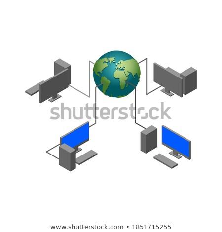 Mondo computer rete pc monitor Foto d'archivio © popaukropa