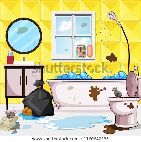 Koszos hulladék fürdőszoba jelenet illusztráció víz Stock fotó © bluering