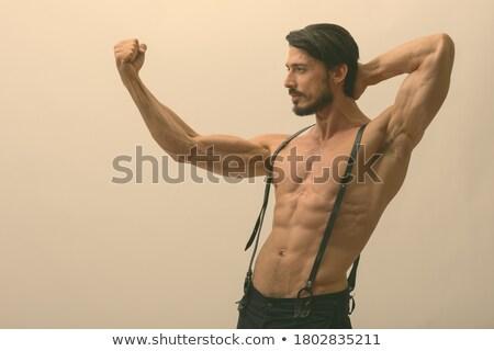 シャツを着ていない 男 サスペンダー セクシー 筋肉の ポーズ ストックフォト © grafvision