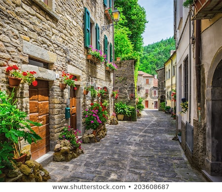 Stock photo: Street in Italy, terrace with flowerpots