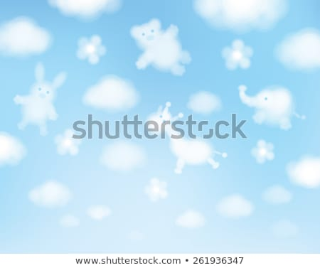 Blue background with clouds and baby pattern stock photo © lemony