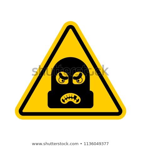 Figyelem rabló vigyázat tilos betörő citromsárga Stock fotó © popaukropa