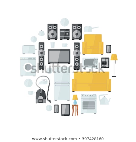 Household appliances flat colourful icons drawn up into circle on white Stock photo © Evgeny89