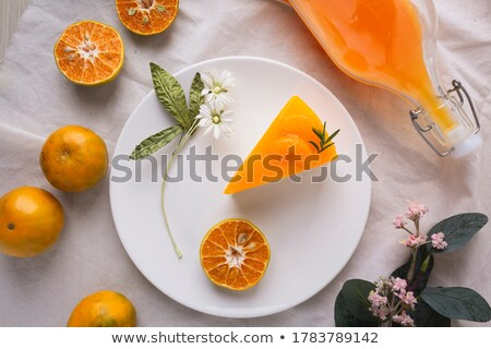 Stuk vanille cake jam plakje eigengemaakt Stockfoto © mpessaris