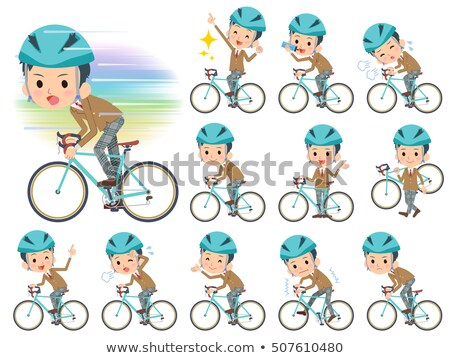 男子生徒 ブラウン ブレザー 自転車 セット ストックフォト © toyotoyo