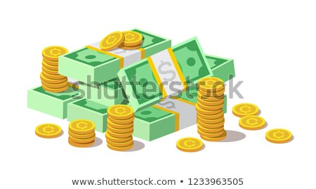 Big pile of cash money banknotes and gold coins, cents. Stock photo © MarySan