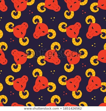 Red Aries or Ram Cartoon Icon Vector Illustration Stock photo © cidepix