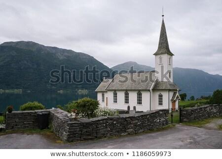 kerk · Noorwegen · gebouw · reizen · lichten · donkere - stockfoto © kotenko