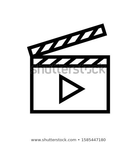 Film tábla ikon vékony vonal terv Stock fotó © angelp