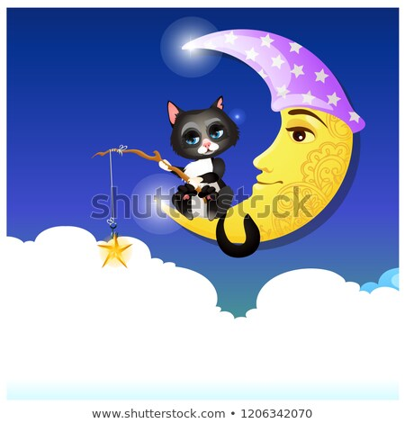 Cute fancy poster with animated cat catching with a fishing rod a gold star. Vector cartoon close-up Stock photo © Lady-Luck