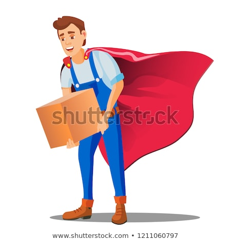 Delivery Service, Man In Superhero Uniform With Box In Hand Vector. Isolated Illustration Stock photo © pikepicture