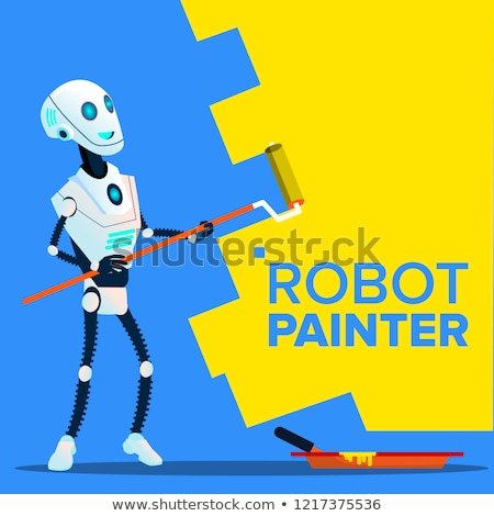 Zdjęcia stock: Robot Painter Paints The Wall With Roll Brush Vector Isolated Illustration