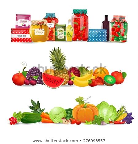 Korunmuş gıda sebze ayarlamak karpuzu posterler Stok fotoğraf © robuart