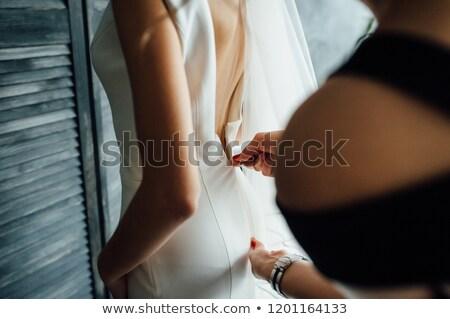 details · mooie · trouwjurk · Maakt · een · reservekopie · detail - stockfoto © ruslanshramko