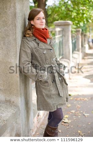 fiatal · gyönyörű · barna · hajú · szürke · kabát · arc - stock fotó © ruslanshramko