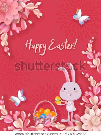 Photo stock: Joyeuses · pâques · carte · de · vœux · lapin · lapin · texte · rouge