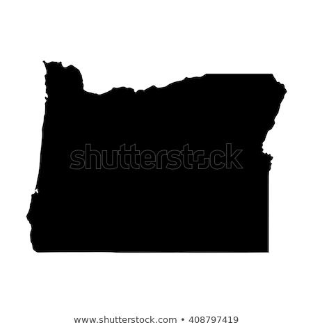 vektör · harita · Oregon · yalıtılmış · siyah · beyaz · eps - stok fotoğraf © kyryloff