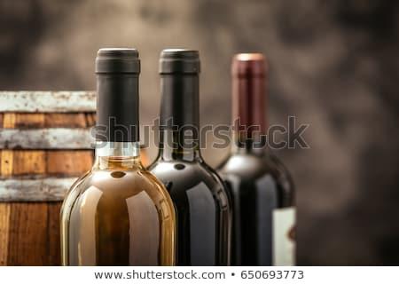 Borosüveg fából készült bor háttér ital fehér Stock fotó © colematt