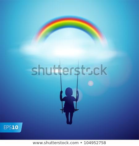 мало ребенка девушки Swing радуга вектора Сток-фото © pikepicture