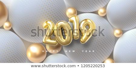 Boldog új évet illusztráció 3D szám karácsony labda Stock fotó © articular