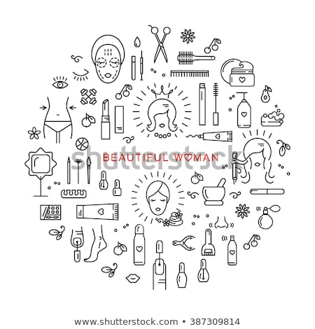 Stock photo: Girl Fashion Line Icon Circle Design