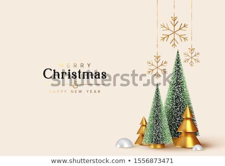 Natale oro pino decorazione biglietto d'auguri allegro Foto d'archivio © cienpies