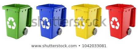 Blue plastic recycle bin opened 3D Stock photo © djmilic