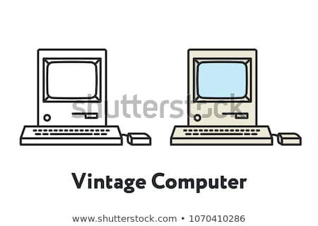 retro computer monitor vector old classic desktop personal computer screen office gaming isolate stock photo © pikepicture