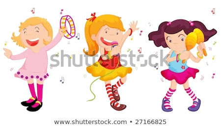 Little girl shaking maracas Stock photo © colematt