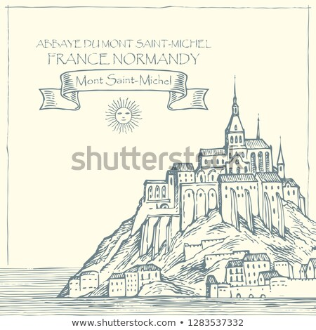 Mont Saint Michel on Vintage Paper in Normandy, France Stock photo © doomko