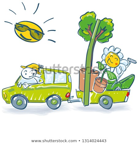 stick figure drives with a trailer and flowers into the spring stock photo © ustofre9