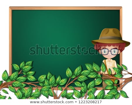 Menino escoteiro lousa modelo ilustração árvore Foto stock © colematt