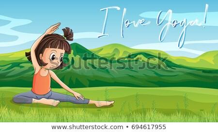 girl doing yoga in park with phrase l love yoga stock photo © colematt