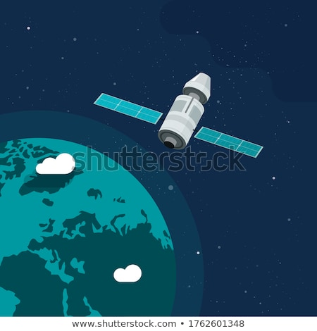 Nowoczesne statek kosmiczny pływające około planety ilustracja Zdjęcia stock © colematt