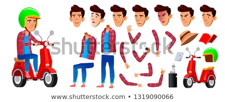 Asian Boy Schoolboy Kid Vector. High School Child. Animation Creation Set. Face Emotions, Gestures.  Stock photo © pikepicture