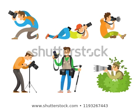 Photo Reporter in Bush, Vector. Photojournalist Stock photo © robuart
