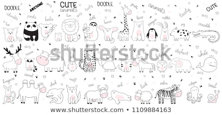 Stock photo: hand-drawn cartoon set of postcards, cards of summer elements,