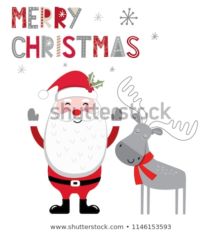 jolly christmas holly berries with leaves cartoon characters stock photo © hittoon