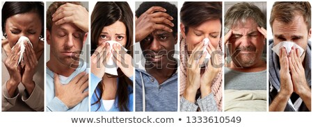 sick people having flu, cold and sneeze Stock photo © Kurhan